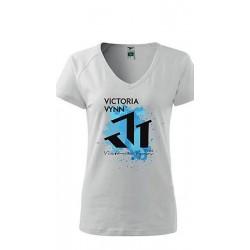 Victoria Vynn - Biały T-Shirt z niebieskim nadrukiem