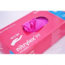 Rękawiczki nitrylowe różowe r S