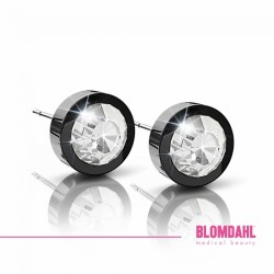 Blomdahl, Czarny tytan medyczny, Grand Bezel Crystal 8 mm SFJ
