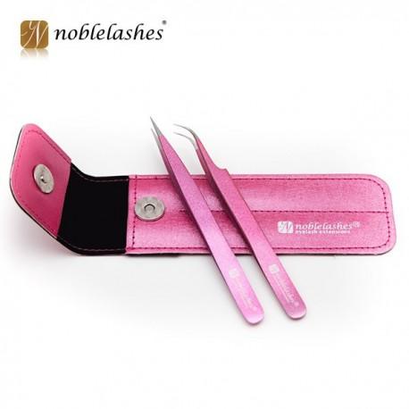Noblelashes, Pęsety z różowym brokatem + etui - Komplet