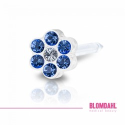 Blomdahl 0% Niklu DAISY 5 mm Sapphire/ Crystal