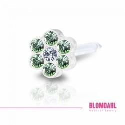 Blomdahl 0% Niklu DAISY 5mm Peridot/ Crystal