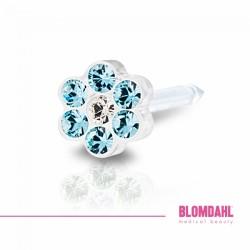 Blomdahl, Daisy Aquamarine/ Crystal 5 mm